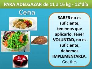PARA ADELGAZAR DE 11 A 16 kg. -cena- 12° día