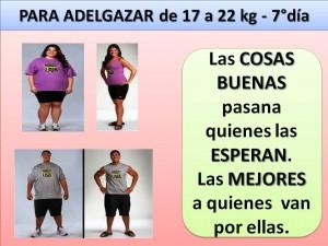 PARA ADELGAZAR DE 17 A 22 kg. -7 día