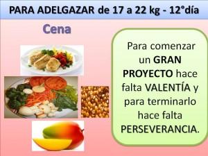 PARA ADELGAZAR DE 17 A 22 kg. -cena- 12° día