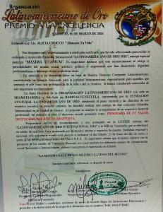 PREMIOS LATINOAMERICANO DE ORO