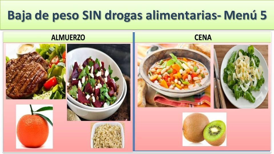 ADELGAZA SIN DROGAS ALIMENTARIAS - MENÚ 5