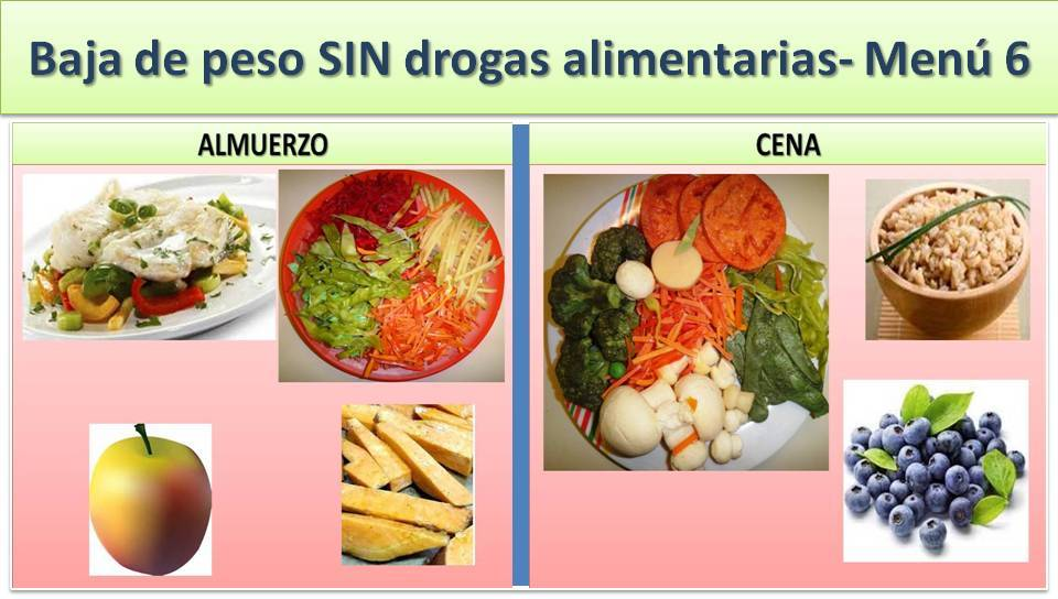 ADELGAZA SIN DROGAS ALIMENTARIAS - MENÚ 6