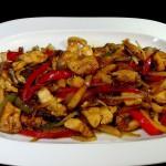 pollo con salsa ajies rojos
